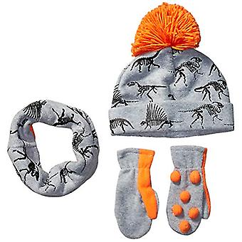 Spotted Zebra Boys' Kids Fleece Hat Mittens Cold Weather Accessories, Grey Dinos Set, Large