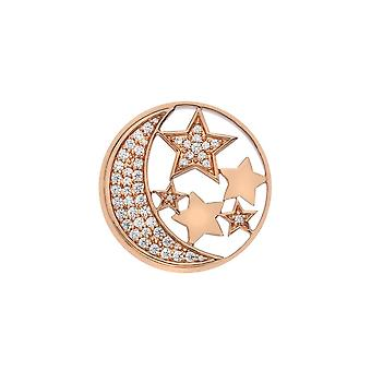 Emozioni Sterling Silver Plate Notturno Rose Gold Plate 33mm Coin EC519