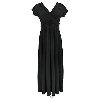 IMAN Boho Chic Dress V-Neck Maxi With Head Wrap Black 692-183