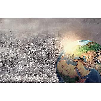 Valokuva seinämaalaus korkean teknologian maaplaneetta