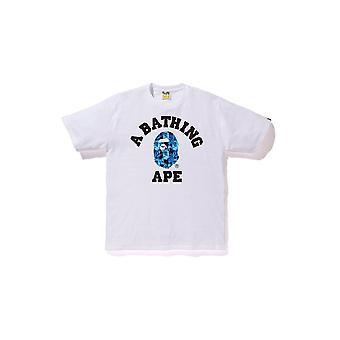Bape اللهب كلية تي الأبيض / الأزرق -- الملابس