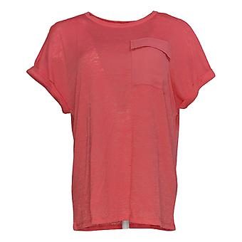 DG2 by Diane Gilman Women's Top Coral Pink Polyester Short Sleeve 723-680