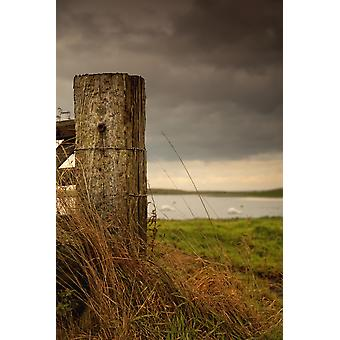 Northumberland England A Wooden Fence Post And A Pond In A Field PosterPrint