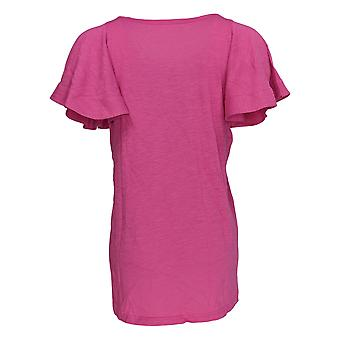 DG2 por Diane Gilman Women's Top Pink Tunic Cotton Short Sleeve 718-519