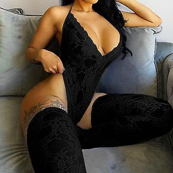 Womenăs Sexy Lace Bodysuit Sleeveless See-through Backless Deep V-neck Skinny