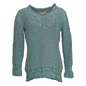 Laurie Felt Mujeres's Suéter de ganchillo V-cuello suéter con tanque verde A352681