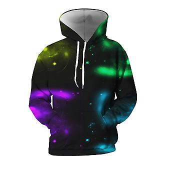 Mens 3d Colorful Galaxy Printed Green Hoodies With Pockets