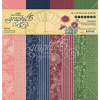 Graphic 45 Blossom 12x12 Inch Patterns & Solids Paper Pad