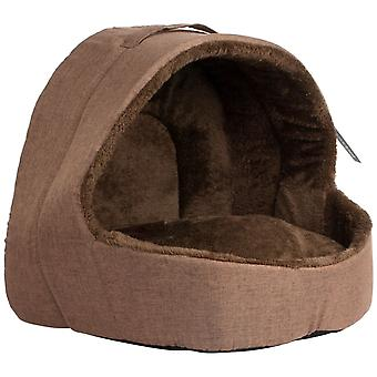Soft Fleece Cat Igloo Bed - Brown