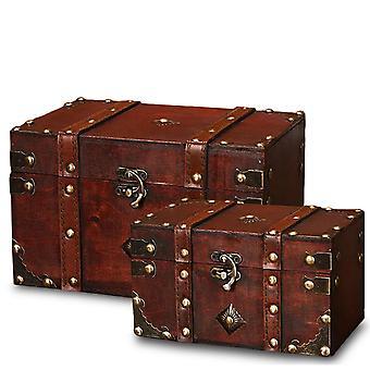Wooden Square Jewelry Box Wooden Retro Box Prop Storage Crafts
