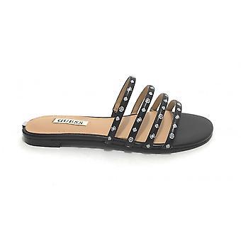 Shoes Guess Sandalo Cevana Ecopelle/ Black Leather / White Ds21gu02 Fl6cvnfal19
