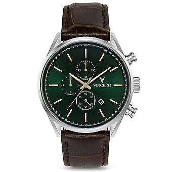 Vincero Sil-for-s37 The Chrono S Green & Brown Leather Men's Watch