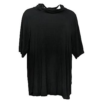 Cuddl Duds Women's Top Plus Short Sleeve W/ Cowl Neck Black A381796