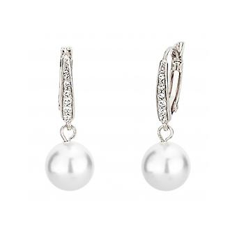Traveller Drop Earring - Leverback - 10mm White Pearl - Rhodium Plated - 114144 - 692