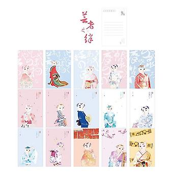 Cute Gentle And Cat Paper Postcard Greeting Card Message Card