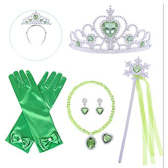 6pcs Anna Princess Costumes Set Princess Crown, Gloves, Magic Wand, Necklace, Ring, Earrings For Girls Green