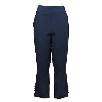 Belle by Kim Gravel Women's Pants Plus Cropped Button Blue A378615