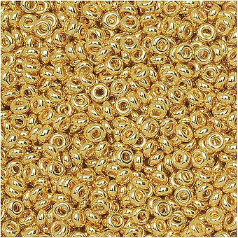 """Toho דמי חרוזי זרע עגול, דק 11/0 (2.2 מ""""מ) גודל, 7.8 גרם, #712 זהב מטאלי"""