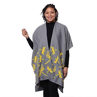 Kortärmad grå Kimono med gul drangonfly broderad storlek 90x95cm