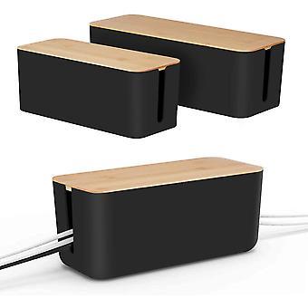 FengChun [Set von 2] Kabel-Management-Box von , Holzdeckel, Kabel-Organizer für