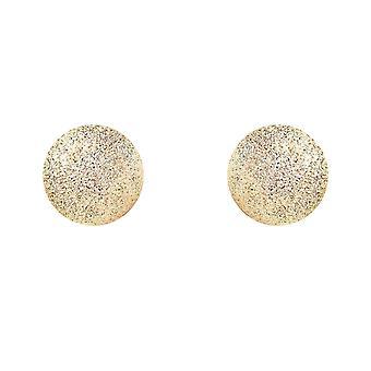 جويلكو لندن السيدات 9ct الذهب الأصفر Moondust متجمد الكرة مسمار الأقراط - 7mm