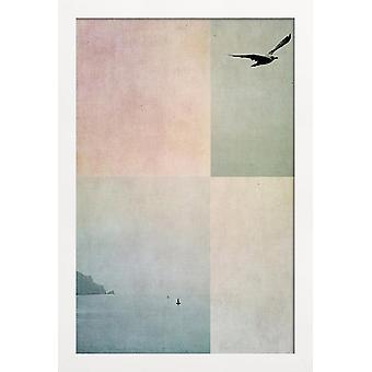 JUNIQE Print - Fly Away - Abstrakte landskaber Plakat i blåt og grønt