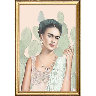 JUNIQE Print - Couture Mexicaine - Frida Kahlo Plakat i Fløde Hvid & Grøn