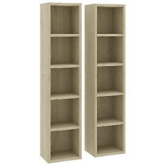 vidaXL CD shelves 2 pcs. Sonoma oak 21x16x93.5 cm chipboard
