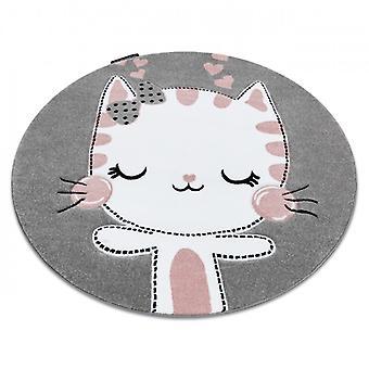 Rug PETIT KITTY cat circle grey