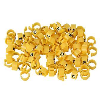 ل100pcs 9.5mm البلاستيك الأصفر الطيور حمامة الساق حلقة تحديد ث / نوم WS5646
