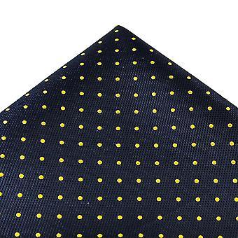 Solmiot Planet Gold Label Navy Blue & Yellow Polka Dot Silk Pocket Square Nenäliina