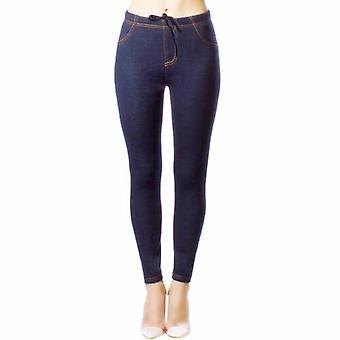 Ladies Denim Look Stretch Elasticated Slim Fit Jeggings, Navy size 8