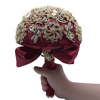 Kristall Hochzeit Bouquet Elfenbein Rose Brautjungfer Blumen künstliche Saphir Band