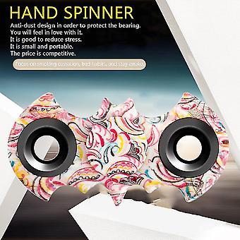 Twee bladeren hand spinner vleermuis uiterlijk stijlvol patroon decompressie hand speelgoed