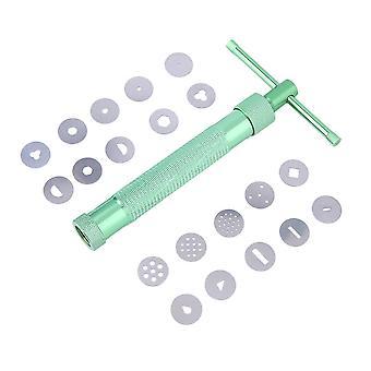 Green Clay Extruder Tool med 20 tips Sockerpasta Extruder Cake Decor Tools
