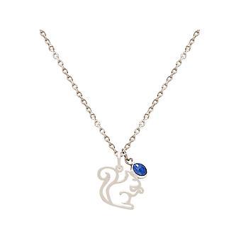 Halsband EKORRE, Skogsdjur hänge i 925 Silver, Guldpläterad, Rose SAPPHIRE