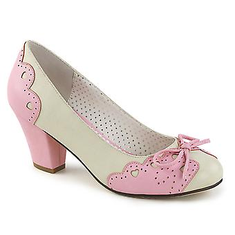 Pin Women's Shoes Up Cream-Pink Faux Leather