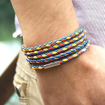 Retro Wrap Long Leather Bracelet, Men Bangles(Mixed)