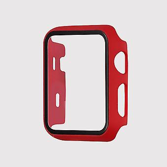 Tempered glass apple watch protective case, red(38mm)
