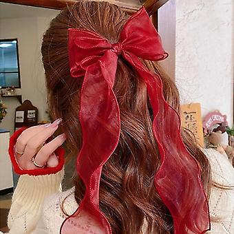 Grote velvet bow haar clip