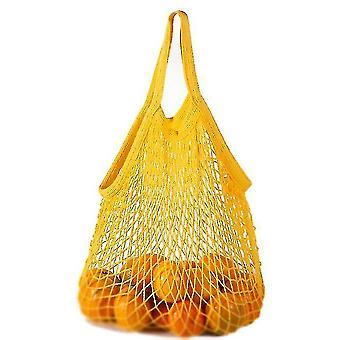 Krátké stažení Čistá bavlněná síťová taška Přenosná bavlněná taška Bavlna Supermarket Zelenina (žlutá)