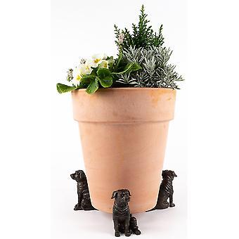 Potty Feet Decorative Staffordshire Bull Terrier Plant Pot Feet Bronze 3pc