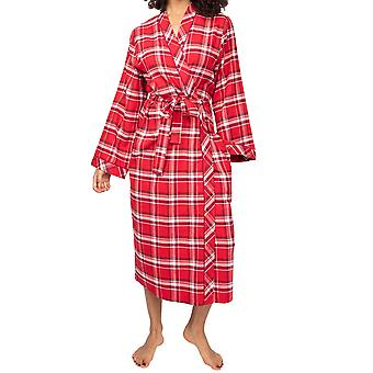 Cyberjammies Robyn 4986 Women's Red Check Cotton Dressing Gown
