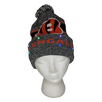NFL Cincinnatti Bengals LED Lighted Stripe Beanie Gray Knit Winter Hat A371654