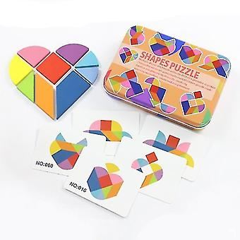 Wooden pegged puzzles 2+ portable magnetic tangram educational children's puzzle book heart-shaped