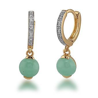 Classic Jade & Diamond Vanne korvakorut kullattu 925 Sterling Hopea 271E008701925