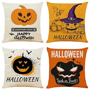 "Mile Halloween Pillow Cover Orange Black Pillow Case Pumpkin Bat Throw Cushion Cover Linen Cushion Cases 18"" X 18""(4pcs)"