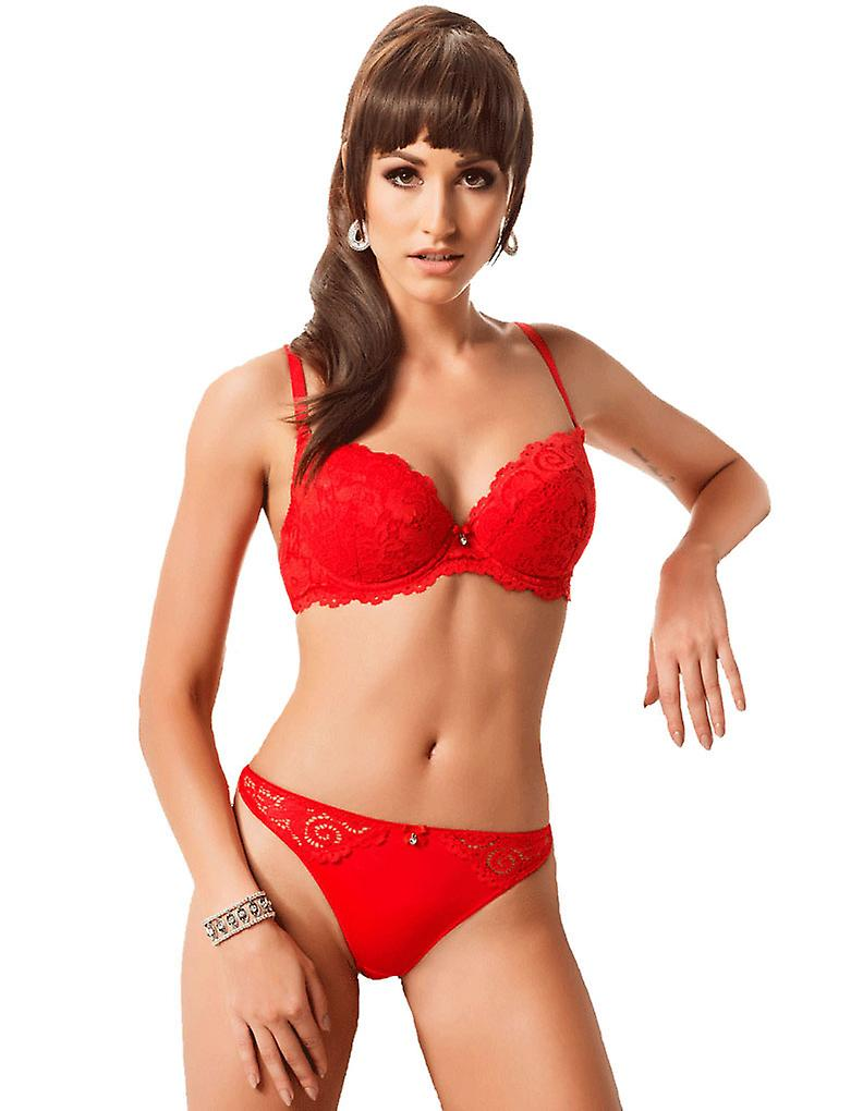 Nessa Emi Red Lace Push-up Bra