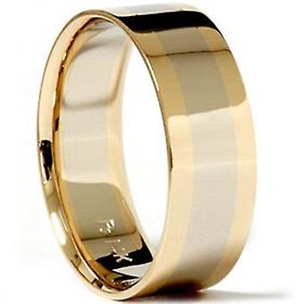 Hombres 8mm 14k oro llano pulido anillo de bodas de banda nuevo
