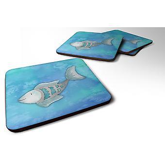 Set of 4 Blue Fish Watercolor Foam Coasters Set of 4